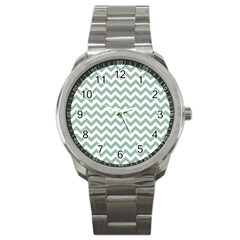 Jade Green And White Zigzag Sport Metal Watch