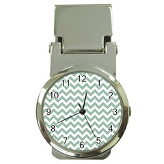 Jade Green And White Zigzag Money Clip with Watch
