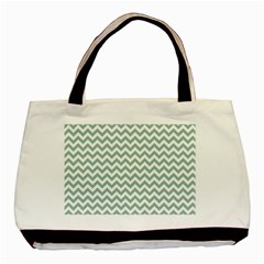 Jade Green And White Zigzag Classic Tote Bag