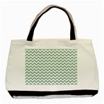 Jade Green And White Zigzag Classic Tote Bag Front