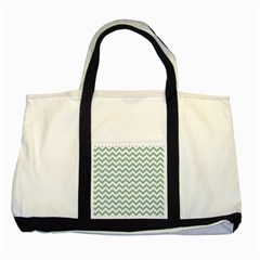 Jade Green And White Zigzag Two Toned Tote Bag