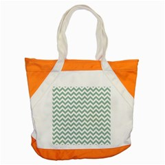 Jade Green And White Zigzag Accent Tote Bag