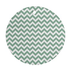 Jade Green And White Zigzag Round Ornament (Two Sides)