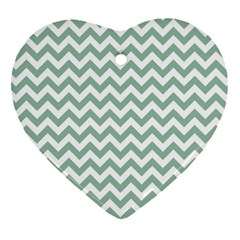 Jade Green And White Zigzag Heart Ornament (Two Sides)
