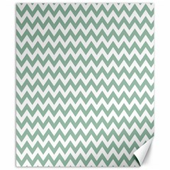 Jade Green And White Zigzag Canvas 8  x 10  (Unframed)