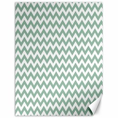 Jade Green And White Zigzag Canvas 12  X 16  (unframed)