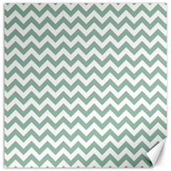 Jade Green And White Zigzag Canvas 20  x 20  (Unframed)