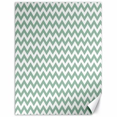 Jade Green And White Zigzag Canvas 18  x 24  (Unframed)