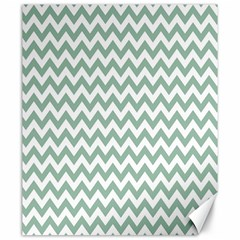 Jade Green And White Zigzag Canvas 20  X 24  (unframed)