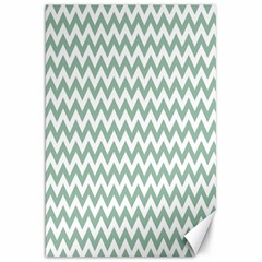 Jade Green And White Zigzag Canvas 20  X 30  (unframed)