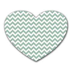 Jade Green And White Zigzag Mouse Pad (Heart)