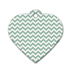 Jade Green And White Zigzag Dog Tag Heart (One Sided)