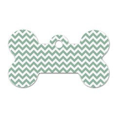 Jade Green And White Zigzag Dog Tag Bone (Two Sided)