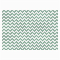 Jade Green And White Zigzag Glasses Cloth (Large, Two Sided)