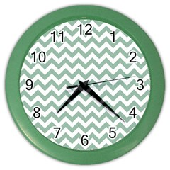 Jade Green And White Zigzag Wall Clock (color)