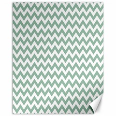 Jade Green And White Zigzag Canvas 11  X 14  (unframed)
