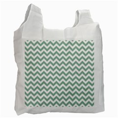 Jade Green And White Zigzag White Reusable Bag (one Side)