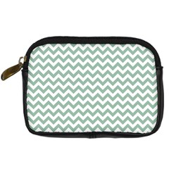 Jade Green And White Zigzag Digital Camera Leather Case