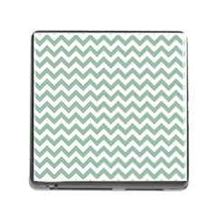 Jade Green And White Zigzag Memory Card Reader with Storage (Square)