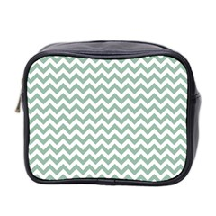Jade Green And White Zigzag Mini Travel Toiletry Bag (two Sides)
