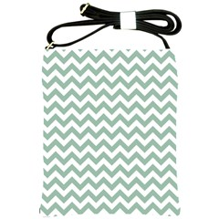 Jade Green And White Zigzag Shoulder Sling Bag
