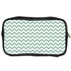 Jade Green And White Zigzag Travel Toiletry Bag (Two Sides)