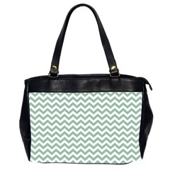 Jade Green And White Zigzag Oversize Office Handbag (Two Sides)