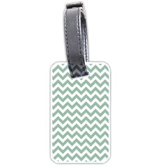Jade Green And White Zigzag Luggage Tag (one Side)