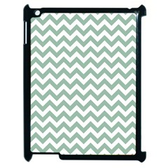Jade Green And White Zigzag Apple iPad 2 Case (Black)