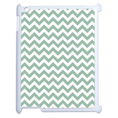 Jade Green And White Zigzag Apple iPad 2 Case (White)