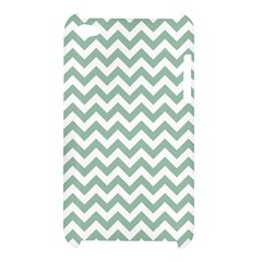 Jade Green And White Zigzag Apple iPod Touch 4G Hardshell Case