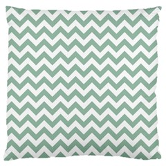 Jade Green And White Zigzag Large Cushion Case (Two Sided)
