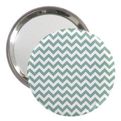 Jade Green And White Zigzag 3  Handbag Mirror