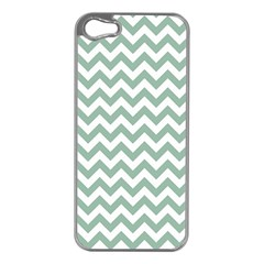Jade Green And White Zigzag Apple Iphone 5 Case (silver)