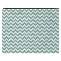 Jade Green And White Zigzag Cosmetic Bag (XXXL)