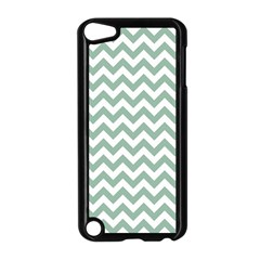 Jade Green And White Zigzag Apple Ipod Touch 5 Case (black)