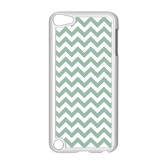Jade Green And White Zigzag Apple iPod Touch 5 Case (White)