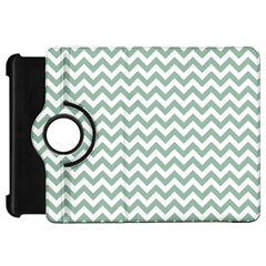 Jade Green And White Zigzag Kindle Fire Hd 7  (1st Gen) Flip 360 Case