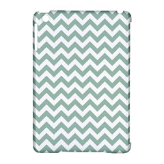 Jade Green And White Zigzag Apple Ipad Mini Hardshell Case (compatible With Smart Cover)