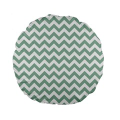 Jade Green And White Zigzag 15  Premium Round Cushion