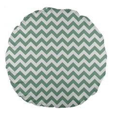 Jade Green And White Zigzag 18  Premium Round Cushion