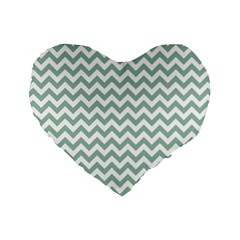 Jade Green And White Zigzag 16  Premium Heart Shape Cushion