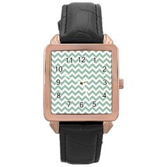 Jade Green And White Zigzag Rose Gold Leather Watch