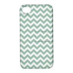 Jade Green And White Zigzag Apple Iphone 4/4s Hardshell Case With Stand
