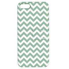 Jade Green And White Zigzag Apple Iphone 5 Hardshell Case With Stand