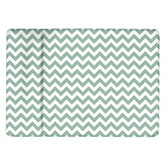 Jade Green And White Zigzag Samsung Galaxy Tab 10.1  P7500 Flip Case