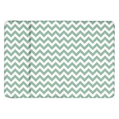Jade Green And White Zigzag Samsung Galaxy Tab 8.9  P7300 Flip Case