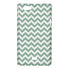 Jade Green And White Zigzag Sony Xperia Miro Hardshell Case