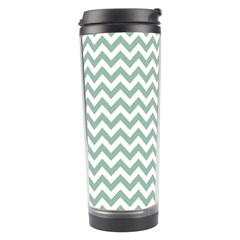 Jade Green And White Zigzag Travel Tumbler