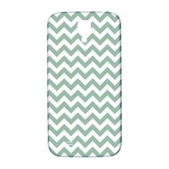 Jade Green And White Zigzag Samsung Galaxy S4 I9500/I9505  Hardshell Back Case
